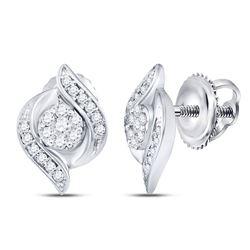 0.25 CTW Diamond Flower Screwback Stud Earrings 14KT White Gold - REF-33N7F