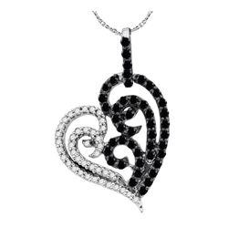0.65 CTW Black Color Diamond Heart Pendant 10KT White Gold - REF-26H9M