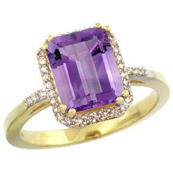 Natural 2.63 ctw amethyst & Diamond Engagement Ring 14K Yellow Gold - REF-42M8H