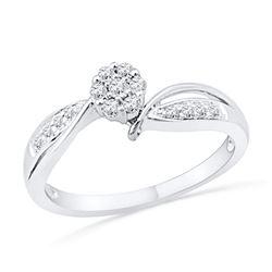0.20 CTW Diamond Cluster Bridal Engagement Ring 10KT White Gold - REF-24K2W