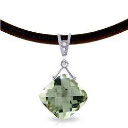 Genuine 8.76 ctw Green Amethyst & Diamond Necklace Jewelry 14KT White Gold - REF-30Y6F