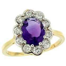 Natural 2.34 ctw Amethyst & Diamond Engagement Ring 14K Yellow Gold - REF-81K4R