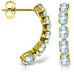 Genuine 2.5 ctw Aquamarine Earrings Jewelry 14KT Yellow Gold - REF-44N3R