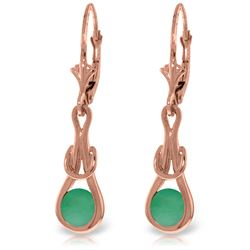 Genuine 1.30 ctw Emerald Earrings Jewelry 14KT Rose Gold - REF-54K5V