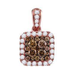 1.01 CTW Cognac-brown Color Diamond Square Pendant 14KT Rose Gold - REF-82Y4X