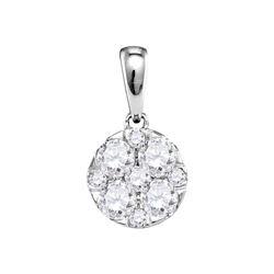1.01 CTW Pave-set Diamond Circle Cluster Pendant 14KT White Gold - REF-119K9W