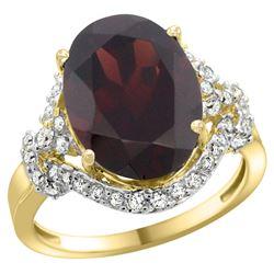 Natural 6.91 ctw garnet & Diamond Engagement Ring 14K Yellow Gold - REF-97N5G