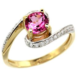 Natural 1.24 ctw pink-topaz & Diamond Engagement Ring 10K Yellow Gold - REF-42G9M