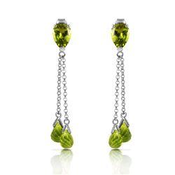 Genuine 7.5 ctw Peridot Earrings Jewelry 14KT White Gold - REF-39M3T