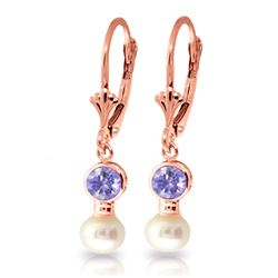 Genuine 5.2 ctw Tanzanite & Pearl Earrings Jewelry 14KT Rose Gold - REF-41F4Z