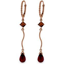 Genuine 3.5 ctw Garnet Earrings Jewelry 14KT Rose Gold - REF-33K8V