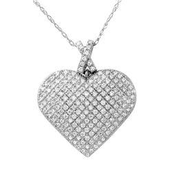 1 CTW Diamond Necklace 14K White Gold - REF-100N6Y
