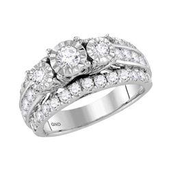 1.96 CTW Diamond 3-Stone Bridal Engagement Ring 14KT White Gold - REF-209Y9X