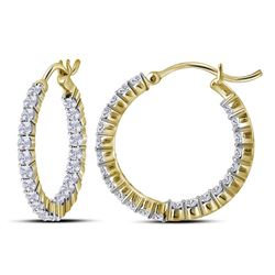 1.96 CTW Diamond In/Out Hoop Earrings 10KT Yellow Gold - REF-134H9M