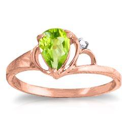 Genuine 0.66 ctw Peridot & Diamond Ring Jewelry 14KT Rose Gold - REF-31M4T