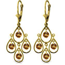 Genuine 2.4 ctw Citrine Earrings Jewelry 14KT Yellow Gold - REF-54K9V