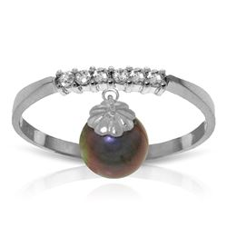 Genuine 2.1 ctw Black Pearl & Diamond Ring Jewelry 14KT White Gold - REF-33V7W