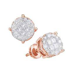 1 CTW Princess & Diamond Soleil Cluster Screwback Earrings 14KT Rose Gold - REF-104K9W