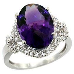 Natural 5.89 ctw amethyst & Diamond Engagement Ring 14K White Gold - REF-88N8G