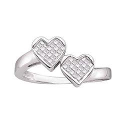 0.25 CTW Princess Diamond Double Heart Love Ring 14KT White Gold - REF-41H9M