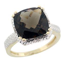 Natural 5.96 ctw Smoky-topaz & Diamond Engagement Ring 10K Yellow Gold - REF-32V4F