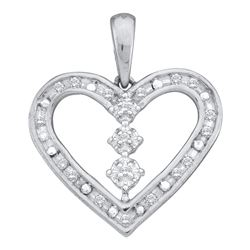 0.15 CTW Diamond Heart Pendant 14KT White Gold - REF-19F4N