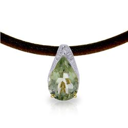 Genuine 6 ctw Green Amethyst Necklace Jewelry 14KT Yellow Gold - REF-30K5V