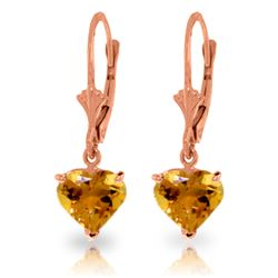 Genuine 3.05 ctw Citrine Earrings Jewelry 14KT Rose Gold - REF-29K7V