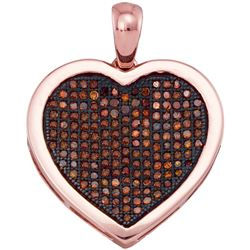 0.50 CTW Red Color Diamond Heart Love Cluster Pendant 10KT Rose Gold - REF-43Y4X