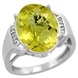 Natural 11.02 ctw Lemon-quartz & Diamond Engagement Ring 10K White Gold - REF-44K7R