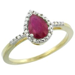 Natural 0.83 ctw Ruby & Diamond Engagement Ring 14K Yellow Gold - REF-24Z5Y