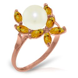 Genuine 2.65 ctw Pearl & Citrine Ring Jewelry 14KT Rose Gold - REF-28P5H