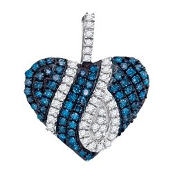 0.33 CTW Blue Color Diamond Heart Pendant 10KT White Gold - REF-19N4F