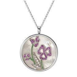 16.14 CTW Conch & Garnett/Pink Sapphire Necklace 14K White Gold - REF-108H2M