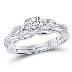 0.17 CTW Diamond Bridal Wedding Engagement Ring 14KT White Gold - REF-30M2H