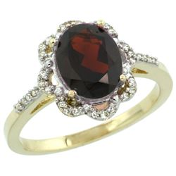 Natural 1.85 ctw Garnet & Diamond Engagement Ring 10K Yellow Gold - REF-30W2K