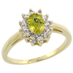 Natural 0.67 ctw Lemon-quartz & Diamond Engagement Ring 14K Yellow Gold - REF-48R2Z