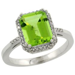 Natural 2.63 ctw Peridot & Diamond Engagement Ring 14K White Gold - REF-42X9A