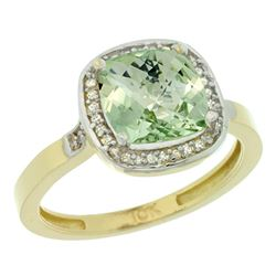 Natural 3.94 ctw Green-amethyst & Diamond Engagement Ring 10K Yellow Gold - REF-29Z2Y