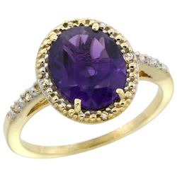Natural 2.42 ctw Amethyst & Diamond Engagement Ring 14K Yellow Gold - REF-34M7H
