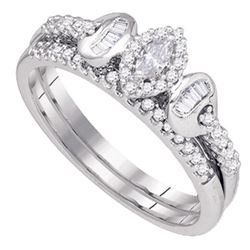 0.30 CTW Marquise Diamond Bridal Ring 10KT White Gold - REF-41Y9X