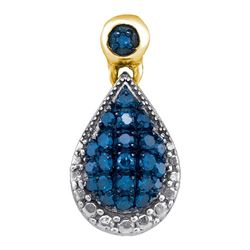 0.15 CTW Blue Color Diamond Teardrop Cluster Pendant 10KT Yellow Gold - REF-12F2N
