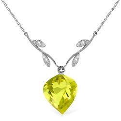 Genuine 10.77 ctw Lemon Quartz & Diamond Necklace Jewelry 14KT White Gold - REF-39W3Y