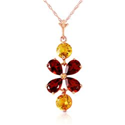 Genuine 3.15 ctw Garnet & Citrine Necklace Jewelry 14KT Rose Gold - REF-30A3K