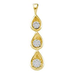 0.25 CTW Diamond Triple Cascading Flower Cluster Pendant 14KT Yellow Gold - REF-37N5F