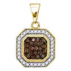 0.33 CTW Cognac-brown Color Diamond Octagon Cluster Pendant 10KT Yellow Gold - REF-16H4M