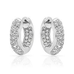 1.01 CTW Diamond Earrings 14K White Gold - REF-87H7M