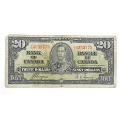 Bank of Canada 1937 Twenty Dollar Note C/T