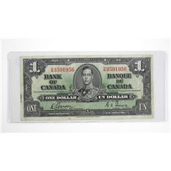 Bank of Canada 1937 One Dollar Note G/T