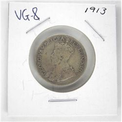 1913 Canada Silver 25 Cent. VG-8